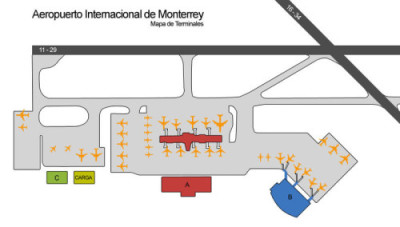 Mapa del Aeropuerto Internacional de Monterrey y Terminales